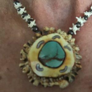 Jewelry - Turquoise, antler and silver necklace